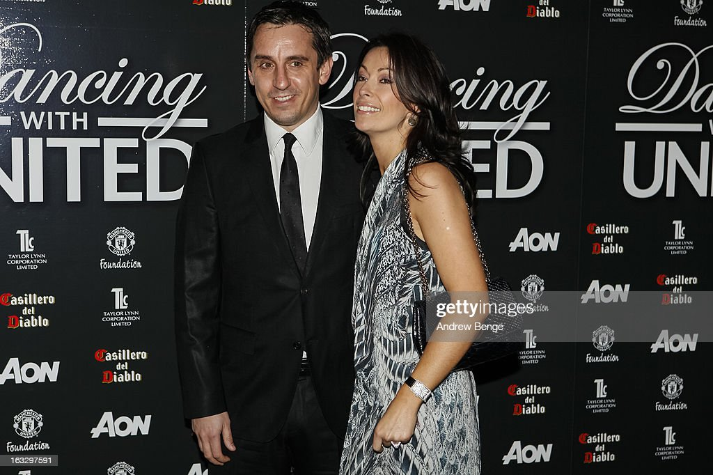 Gary Neville and Emma Hadfield attends the Manchester United Foundations Dancing with united charity fundraiser at Lancashire County Cricket Club on March 7, 2013 in Manchester, England.