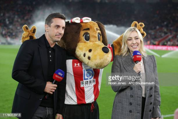 Gary Neville and Kelly Cates of Sky with Southampton mascot before the Premier League match between Southampton FC and AFC Bournemouth at St Mary's...