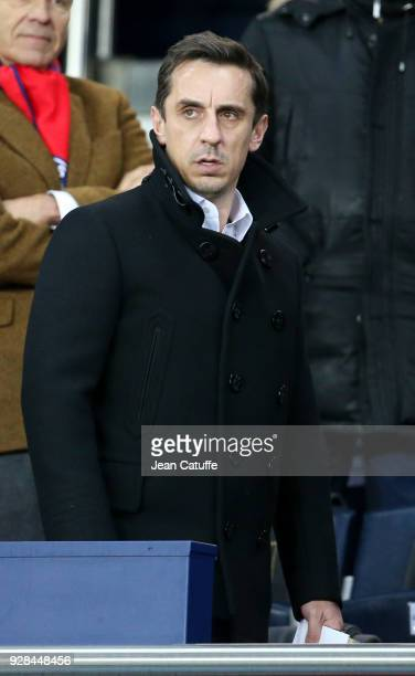 Gary Neville attends the UEFA Champions League Round of 16 Second Leg match between Paris SaintGermain and Real Madrid at Parc des Princes stadium on...