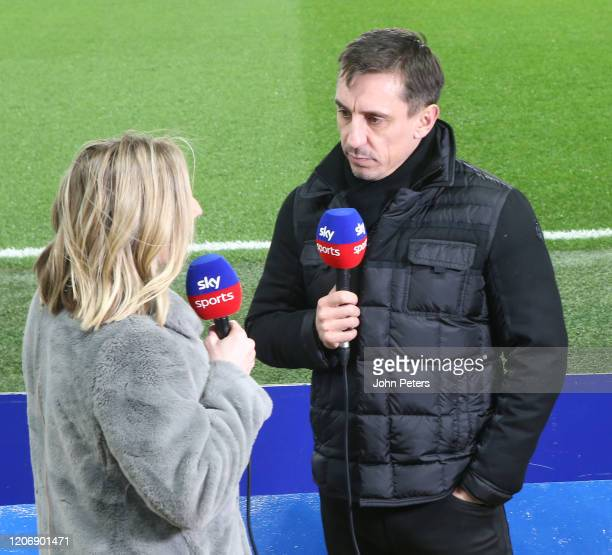 Gary Neville broadcasts ahead of the Premier League match between Chelsea FC and Manchester United at Stamford Bridge on February 17 2020 in London...