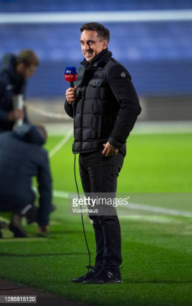 Gary Neville commentating for Sky Sports before the Sky Bet League Two match between Bolton Wanderers and Salford City at the University of Bolton...