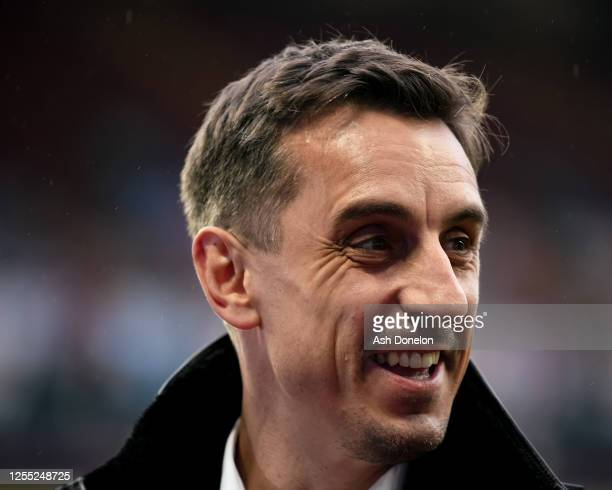 Gary Neville is interviewed ahead of the Premier League match between Aston Villa and Manchester United at Villa Park on July 09, 2020 in Birmingham,...
