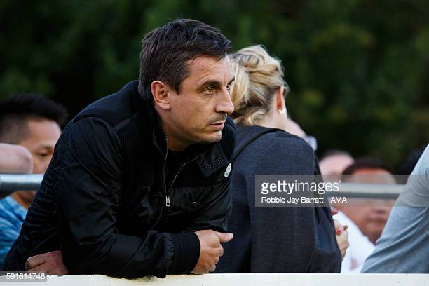 Gary Neville joint owner of Salford City watches the game during the Vanarama Conference North match between Salford City and FC United of Manchester...