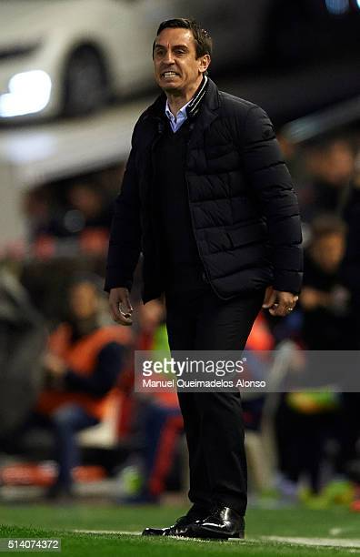 Gary Neville manager of Valencia CF reacts during the La Liga match between Valencia CF and Atletico de Madrid at Estadi de Mestalla on March 06 2016...