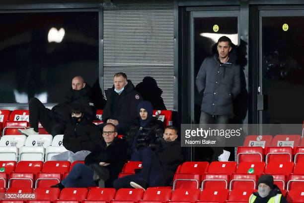 Gary Neville, Nicky Butt, Paul Scholes and Ryan Giggs Co-owners of Salford City watch from the stands of the Sky Bet League Two match between Salford...