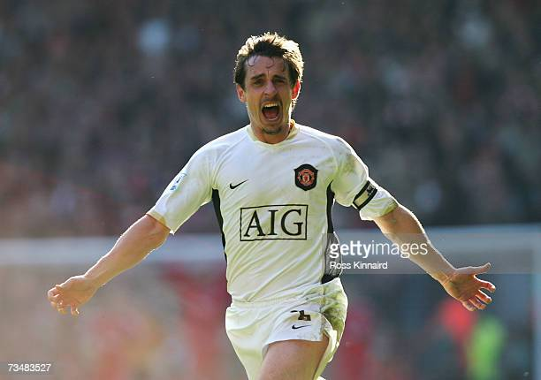 Gary Neville of Manchester United celebrates team mate John O'Shea's winning goal during the Barclays Premiership match between Liverpool and...