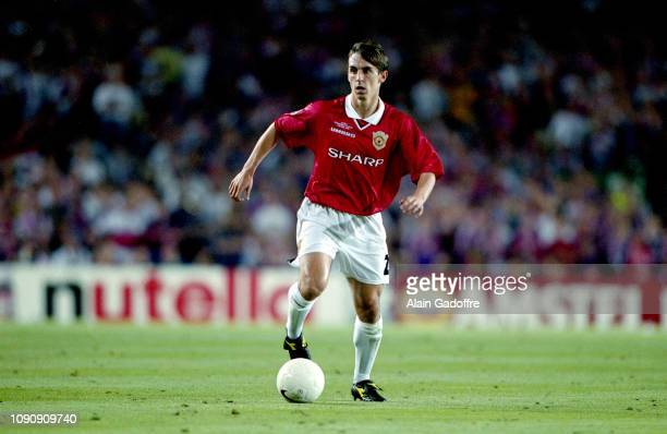 Gary Neville of Manchester United during the UEFA Champions league final match between Manchester United and Bayern Munich on May 26 1999 in Camp Nou...