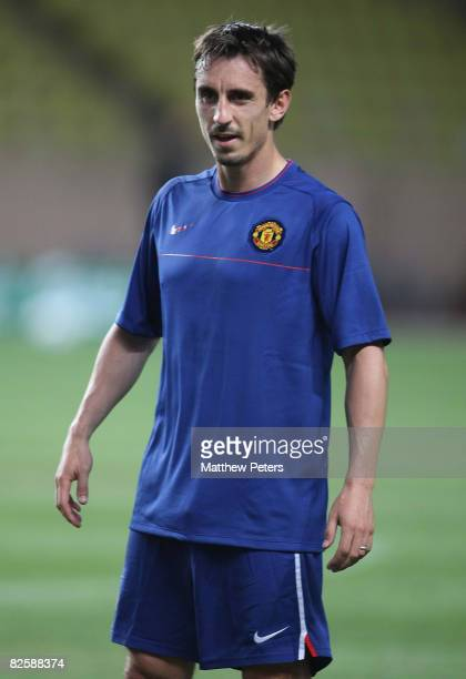 Gary Neville of Manchester United in action during a training session ahead of the UEFA Supercup match between Manchester United and Zenit St...