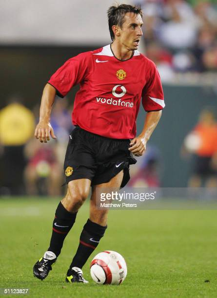 Gary Neville of Manchester United in action during the Champions World Series pre-season friendly match between Manchester United and Celtic at...