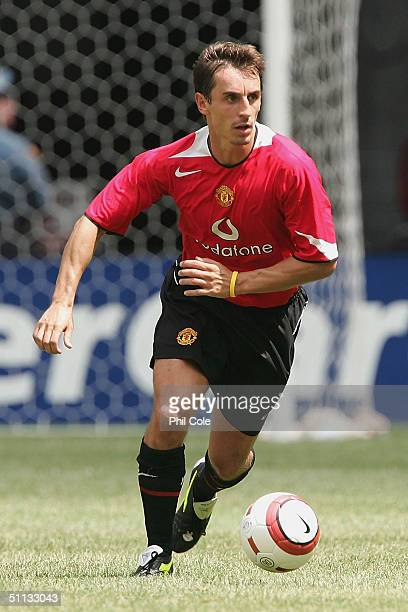 Gary Neville of Manchester United in action during the Champions World Series match between Manchester United and AC Milan at Giants Stadium on July...