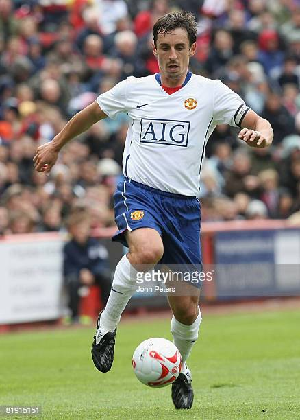 Gary Neville of Manchester United in action during the preseason friendly match between Aberdeen and Manchester United at Pittodrie on July 12 2008...