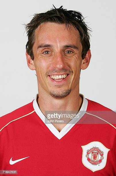 Gary Neville of Manchester United poses during an official photocall at Carrington Training Ground on August 10 2006 in Manchester England