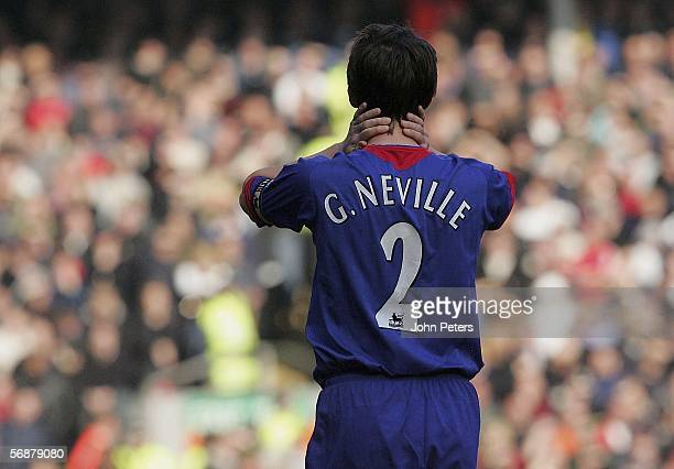 Gary Neville of Manchester United shows his disappointment during the FA Cup Fifth Round match between Liverpool and Manchester United at Anfield on...
