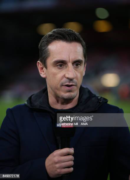 Gary Neville presenter for Sky Sports during the Premier League match between AFC Bournemouth and Brighton and Hove Albion at Vitality Stadium on...