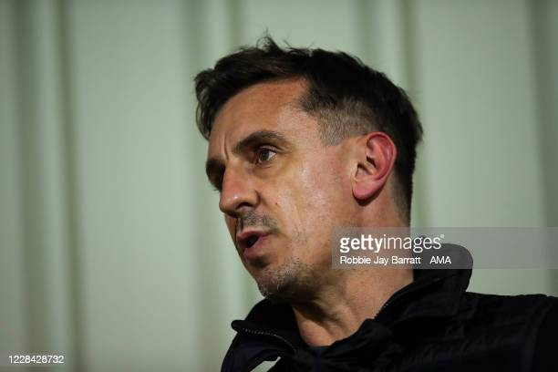 Gary Neville pundit and co-owner of Salford City commentates on the game during the EFL Trophy Northern Group B fixture between Salford City v...