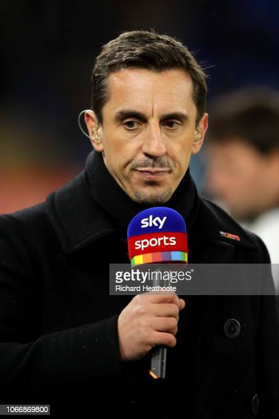 Gary Neville speaks on Sky Sports during the Premier League match between Cardiff City and Wolverhampton Wanderers at Cardiff City Stadium on...
