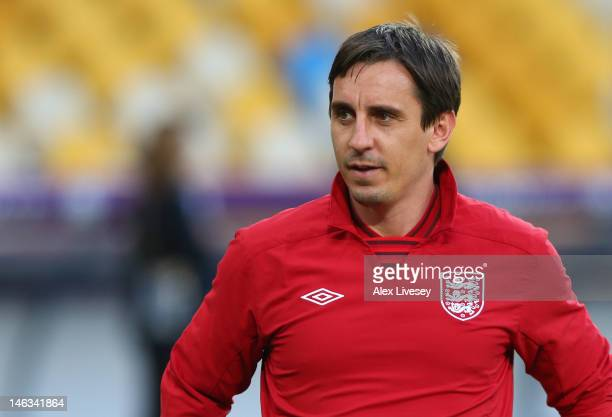 Gary Neville the coach of England looks on during a UEFA EURO 2012 training session at the Olympic Stadium on June 14 2012 in Kiev Ukraine