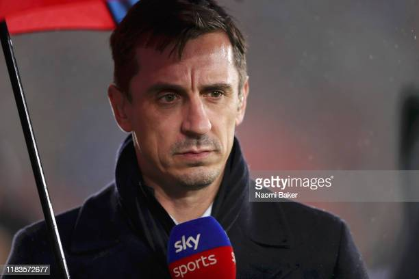 Gary Neville TV Presenter is seen during the Premier League match between Southampton FC and Leicester City at St Mary's Stadium on October 25 2019...