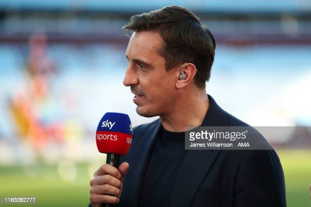 Gary Neville working for Sky Sports during the Premier League match between Aston Villa and Everton FC at Villa Park on August 23 2019 in Birmingham...