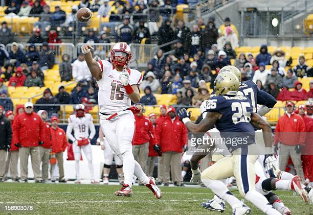 Gary Nova of the Rutgers Scarlet Knights rolls out to pass against the Pittsburgh Panthers during the game on November 24 2012 at Heinz Field in...