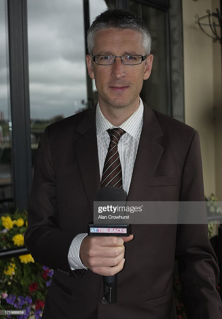 Gary O'Brien, presenter for At The Races at Curragh racecourse on June 30, 2013 in Kildare, Ireland.