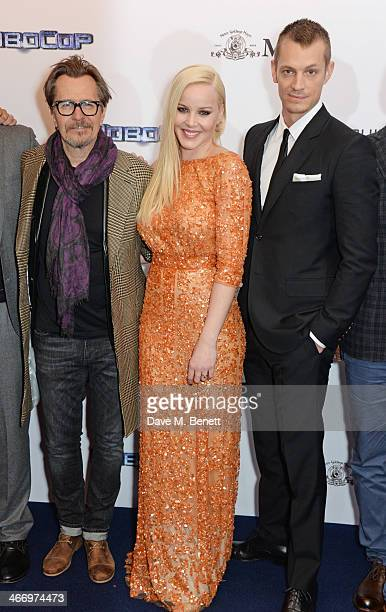 "Gary Oldman, Abbie Cornish and Joel Kinnaman attend the World Premiere of ""RoboCop"" at the BFI IMAX on February 5, 2014 in London, England."