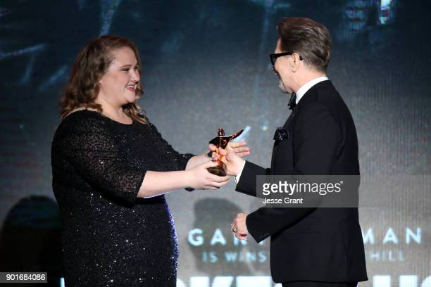 Gary Oldman accepts the AACTA International Award for Best Lead Actor for 'Darkest Hour' from Danielle MacDonald onstage at the 7th AACTA...