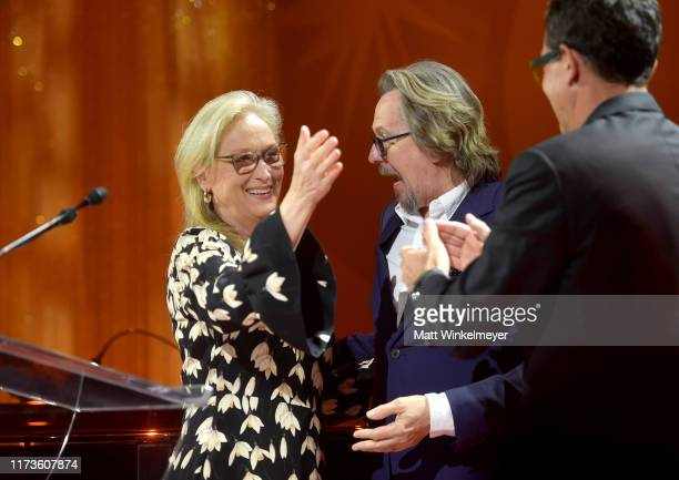 Gary Oldman and Antonio Banderas present the TIFF Tribute Actor Award to Meryl Streep during the 2019 Toronto International Film Festival TIFF...