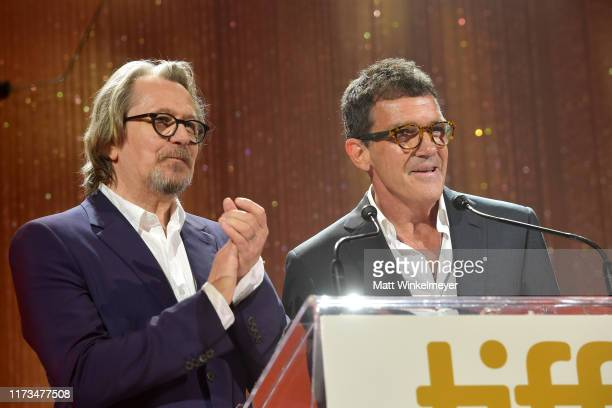Gary Oldman and Antonio Banderas speak onstage during the 2019 Toronto International Film Festival TIFF Tribute Gala at The Fairmont Royal York Hotel...