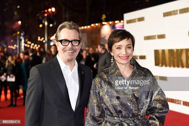 Gary Oldman and Dame Kristin Scott Thomas attend the UK Premiere of 'Darkest Hour' at Odeon Leicester Square on December 11 2017 in London England
