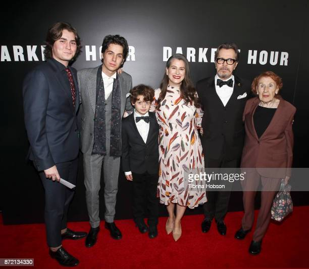 Gary Oldman and family attend the premiere of Focus Features 'Darkest Hour' at Samuel Goldwyn Theater on November 8 2017 in Beverly Hills California