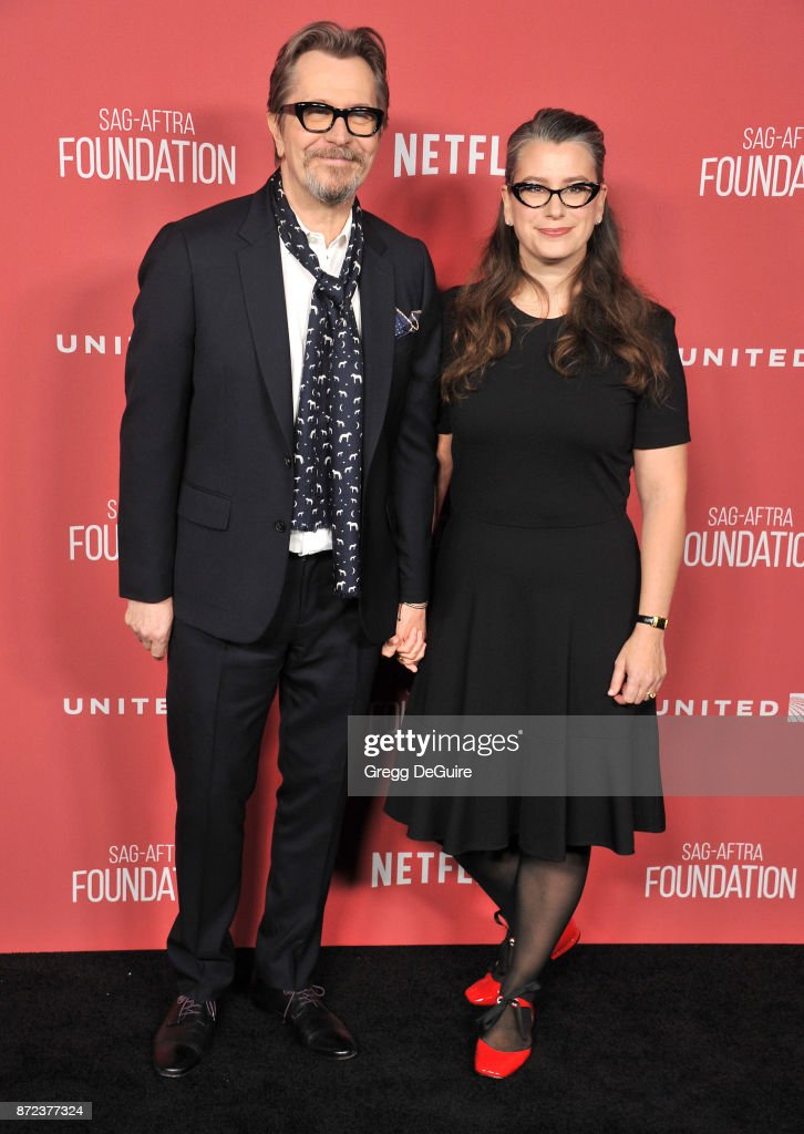 Gary Oldman and Gisele Schmidt arrive at the SAG-AFTRA Foundation Patron of the Artists Awards 2017 on November 9, 2017 in Beverly Hills, California.