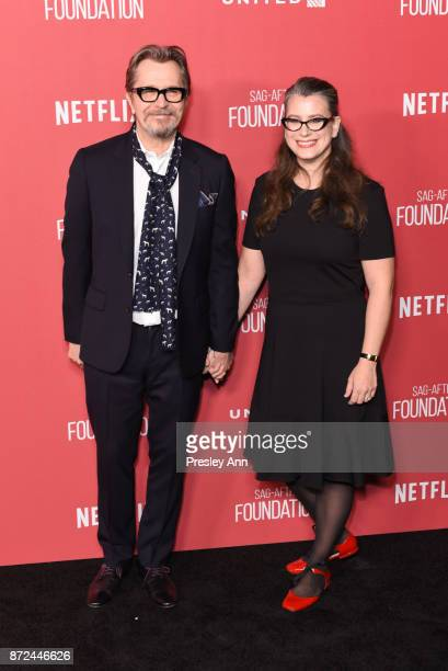Gary Oldman and Gisele Schmidt attend SAGAFTRA Foundation Patron of the Artists Awards 2017 Arrivals at Wallis Annenberg Center for the Performing...