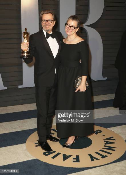 Gary Oldman and Gisele Schmidt attend the 2018 Vanity Fair Oscar Party hosted by Radhika Jones at Wallis Annenberg Center for the Performing Arts on...
