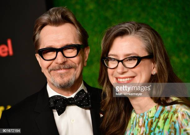 Gary Oldman and Gisele Schmidt attend the 7th AACTA International Awards at Avalon Hollywood in Los Angeles on January 5 2018 in Hollywood California