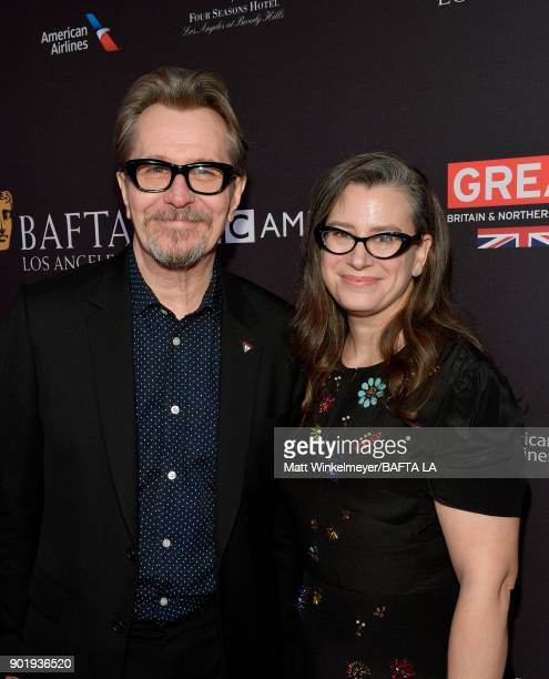Gary Oldman and Gisele Schmidt attend The BAFTA Los Angeles Tea Party at Four Seasons Hotel Los Angeles at Beverly Hills on January 6 2018 in Los...
