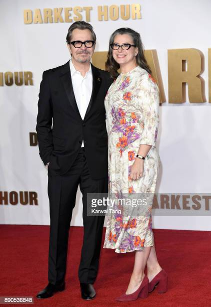 Gary Oldman and Gisele Schmidt attend the 'Darkest Hour' UK premeire at Odeon Leicester Square on December 11 2017 in London England