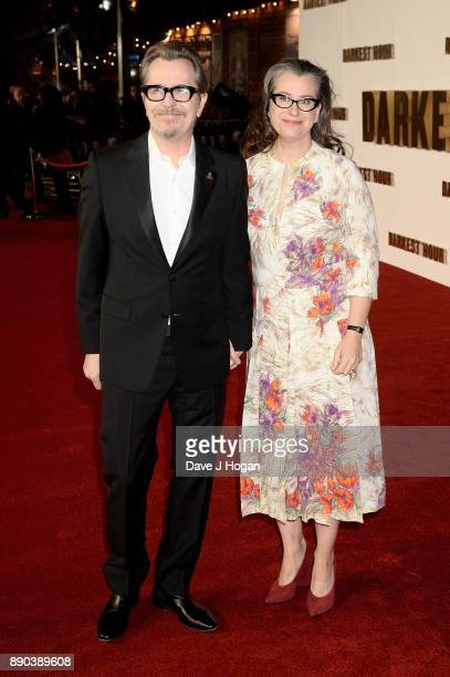 Gary Oldman and Gisele Schmidt attend the 'Darkest Hour' UK premiere at Odeon Leicester Square on December 11 2017 in London England