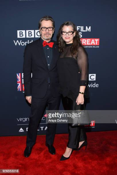 Gary Oldman and Gisele Schmidt attend the Great British Film Reception honoring the British nominees of The 90th Annual Academy Awards at The British...