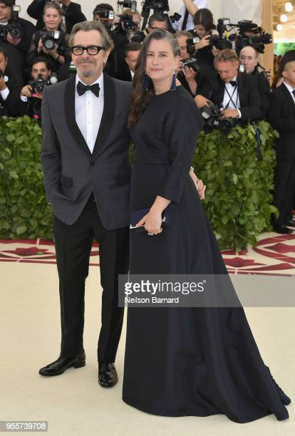 Gary Oldman and Gisele Schmidt attend the Heavenly Bodies Fashion The Catholic Imagination Costume Institute Gala at The Metropolitan Museum of Art...