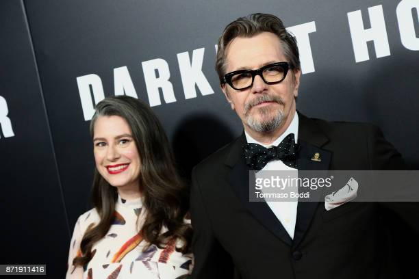 Gary Oldman and Gisele Schmidt attend the Premiere Of Focus Features' Darkest Hour at Samuel Goldwyn Theater on November 8 2017 in Beverly Hills...