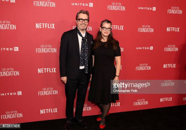 Gary Oldman and Gisele Schmidt attend the SAGAFTRA Foundation Patron of the Artists Awards 2017 at the Wallis Annenberg Center for the Performing...
