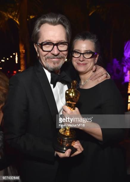 Gary Oldman and Gisele Schmidt attends the 2018 Vanity Fair Oscar Party hosted by Radhika Jones at Wallis Annenberg Center for the Performing Arts on...