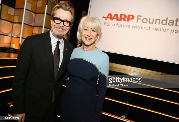 Gary Oldman and honoree Helen Mirren attends AARP's 17th Annual Movies For Grownups Awards at the Beverly Wilshire Four Seasons Hotel on February 5...