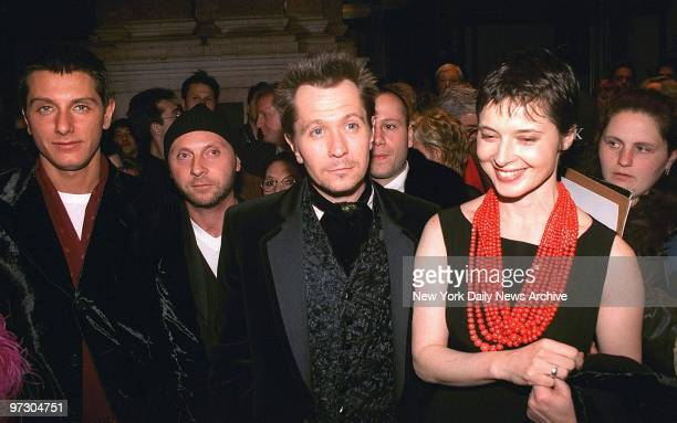 Gary Oldman and Isabella Rossellini leave Carnegie Hall after a concert for the benefit of the Rainforest Foundation International