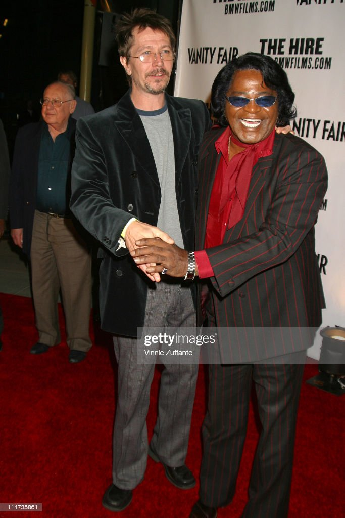Gary Oldman and James Brown attending the Vanity Fair sponsored premeire of BMW's web movies series 'The Hire' second season in Los Angeles 10/17/02
