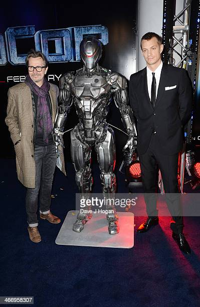 Gary OLdman and Joel Kinnaman attend the world premiere of 'RoboCop' at The IMAX on February 05 2014 in London England