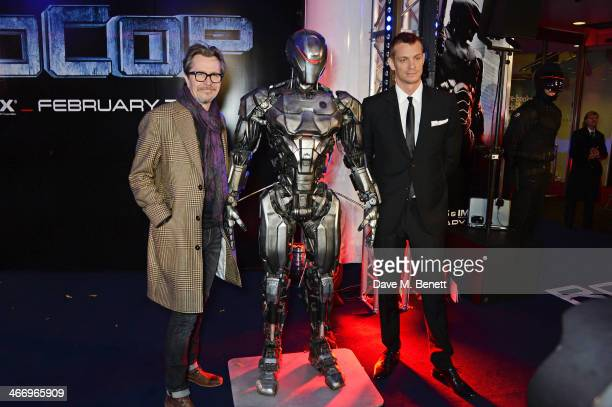 "Gary Oldman and Joel Kinnaman attend the World Premiere of ""RoboCop"" at the BFI IMAX on February 5, 2014 in London, England."