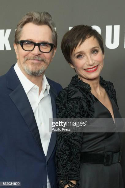 Gary Oldman and Kristin Scott Thomas attend Darkest Hour premiere at Paris movie theater