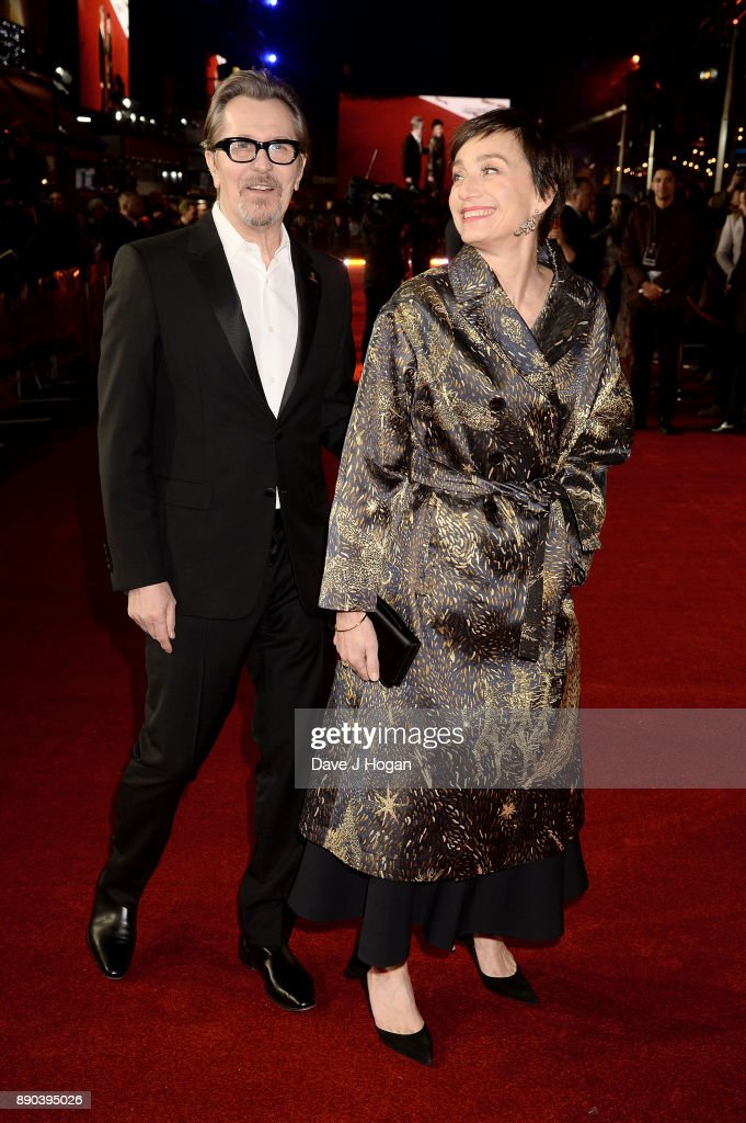 Gary Oldman (L) and Kristin Scott Thomas attend the 'Darkest Hour' UK premiere at Odeon Leicester Square on December 11, 2017 in London, England.